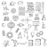 Physics, chemistry and astronomy science sketches Royalty Free Stock Photography