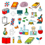 Physics, chemistry, medicine science research icon Royalty Free Stock Image