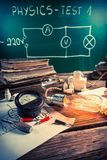Physics class rooms with Edison light bulb and electrical diagram Stock Photography
