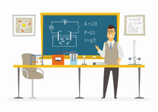 Physics Classroom - male teacher composition at the blackboard Stock Images