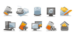 Physics and communication icons set Stock Images
