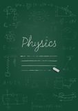 Physics copybook cover. Chalk drawing on green blackboard. Vector illustration. Royalty Free Stock Photos