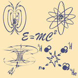 Physics doodle set Zdjęcie Stock