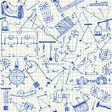 Physics doodles bezszwowego wzór Fotografia Stock