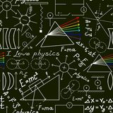 Physics doodles on school squared paper, seamless pattern Stock Image