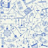Physics Doodles Seamless Pattern Stock Photography