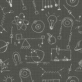 Physics doodles seamless pattern Stock Image