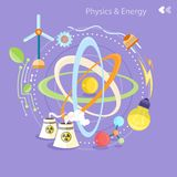Physics energy. Science and physics energy icons set. Chemistry, physics, biology. Concept in flat design cartoon style on stylish background Royalty Free Stock Images