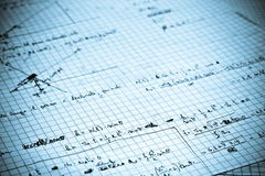 Physics exercise written on a white paper royalty free stock images