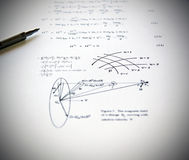 Physics exercises and school. Physics exercises written on a white paper. School time Stock Photo