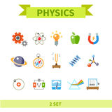 Physics flat color icon set Stock Photography