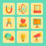Physics Flat Design Icons Set Royalty Free Stock Photo
