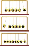 Physics in foreign languages - newton`s cradle Royalty Free Stock Photo