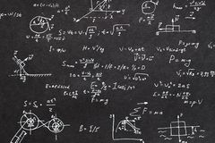 Physics formula chalkboard kinematics calculation. Physics formula written on chalkboard. kinematics scientific research and calculation concept royalty free stock photography