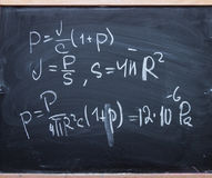 Physics formulas on blackboard Royalty Free Stock Photography