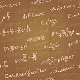 Physics formulas vector seamless pattern on brown Stock Photos