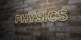 PHYSICS - Glowing Neon Sign on stonework wall - 3D rendered royalty free stock illustration Stock Photography