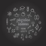 Physics Hand Drawn Icons Collection Royalty Free Stock Images