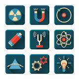 Physics icons in flat design style Stock Image