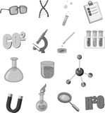 Physics icons set, black monochrome style Stock Photos