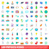 100 physics icons set, cartoon style. 100 physics icons set in cartoon style for any design vector illustration Royalty Free Stock Images