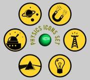 Physics ikony ustawiać, kolor żółty, & siwieją Zdjęcie Royalty Free