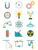 Physics ikony ustawiać Zdjęcia Royalty Free