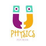 Physics for kids logo symbol. Colorful hand drawn label Royalty Free Stock Photos
