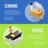 Physics and language studying at school. Isometric 3D posters. Young people sitting at table in classroom and doing homework. Individual education concept Stock Photography