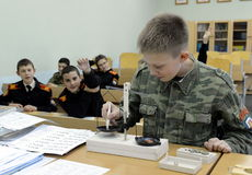 Physics lesson in the cadet corps of the police. MOSCOW, RUSSIA - OCTOBER 24,2013:Physics lesson in the cadet corps of the police.Cadet corps - initial military Stock Images