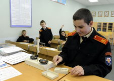 Physics lesson in the cadet corps of the police. MOSCOW, RUSSIA - OCTOBER 24,2013:Physics lesson in the cadet corps of the police.Cadet corps - initial military Royalty Free Stock Images