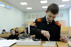 Physics lesson in the cadet corps of the police. MOSCOW, RUSSIA - OCTOBER 24,2013:Physics lesson in the cadet corps of the police.Cadet corps - initial military Royalty Free Stock Photo