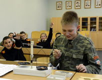Physics lesson in the cadet corps of the police. MOSCOW, RUSSIA - OCTOBER 24,2013:Physics lesson in the cadet corps of the police.Cadet corps - initial military Stock Image