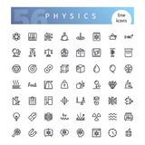 Physics Line Icons Set. Set of 56 physics line icons suitable for web, infographics and apps. Isolated on white background. Clipping paths included vector illustration
