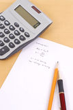 Physics Math Equation. With Calculator Royalty Free Stock Images