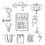 Physics and mechanics sketch icons. Science sketch icons set with symbols of physics such as magnet, electric power, atom model, Earth magnetic field, book Royalty Free Stock Photo