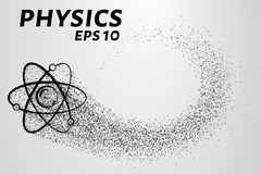 Physics of particles. Silhouette of an atom consists of small circles. Vector illustration. Physics of particles. Silhouette of an atom consists of small circles Royalty Free Stock Image