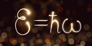 Physics, Planck constant, freezelight, bokeh,Quantum mechanics, energy of a photon Stock Photography
