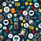 Physics science education flat seamless pattern Stock Images