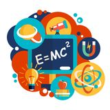 Physics science flat design Royalty Free Stock Photo