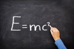 Physics science formula equation blackboard, E=mc² stock images