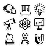 Physics Science Icons. Physics science equipment teaching and studying black and white education icons set isolated vector illustration Stock Photography