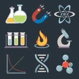 Physics science icons. Physics science equipment teaching and studying education icons set isolated vector illustration Royalty Free Stock Photos