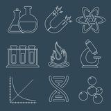 Physics science icons flat Stock Image
