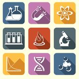 Physics science icons flat Stock Images