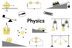 Physics and science icons set. Classical mechanics. Experiments equipment, tools, magnet, atom, pendulum, Newton's Laws and the simplest mechanisms of Royalty Free Stock Image
