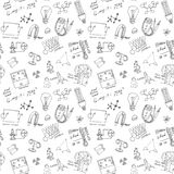 Physics and science seamless pattern with sketch elements  Stock Images