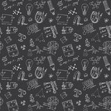 Physics and sciense seamless pattern with sketch elements Hand Drawn Doodles background Vector Illustration Royalty Free Stock Images
