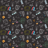 Physics and sciense seamless pattern with sketch elements Hand Drawn Doodles background Vector Illustration Royalty Free Stock Image