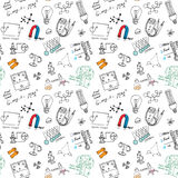 Physics and sciense seamless pattern with sketch elements Hand Drawn Doodles background Vector Illustration Stock Photo